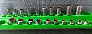 Lot Of 20 Snap On Tools 3 8 Drive 6pt Metric Shallow And Deep Chrome Socket
