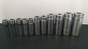 Lot Of 11 Snap On 3 8 Drive 6 point Deep Sae Standard Socket With Tray