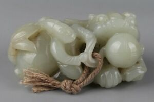 Chinese Exquisite Hand Carved People Beast Carving Hetian Jade Statue