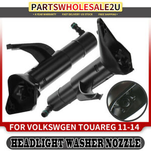 2x Headlight Washer Jet Nozzle For Volkswagen Touareg 2011 2014 Front Left right