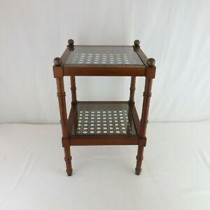 Vtg 1950s Small Side Table Caned Brass Spheres Mahogany Regency Faux Bamboo