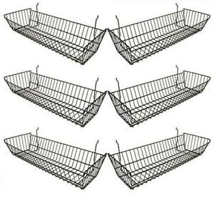 Black Multi fit Double Sloping Wire Basket For Slatwall Pegboard Or Gridwall