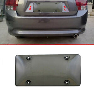 Car Clear Gray Tinted License Plate Cover Smoked Bubble Shield Tag Protector