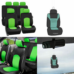 Green Black Deluxe Pu Leather Seat Covers Full Interior W Free Air Freshener