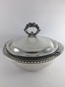 Leonard Silver Plated Serving Dish Casserole Glass Bowl Lining Covered