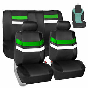 Universal Fit Pu Leather Seat Covers Full Set For Car Suv Van Auto Green W Gift