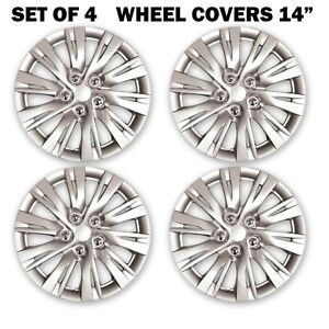 Hs Wheels Covers Silver Lacquer Hub Cap 14