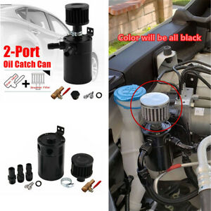 Aluminum 2 Port Oil Catch Can Tank Reservoir With Drain Valve Breather Baffled