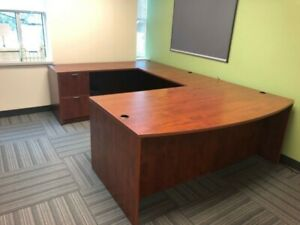 6 X 9 Bow Front Executive U shape Desk In Cherry Laminate By Marquis Office