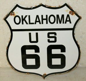 Oklahoma Us Route 66 Vintage Style Porcelain Highway Signs Man Cave Station