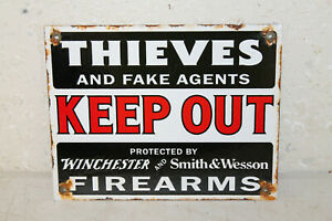 Vintage Style Winchester Smith Wesson Firearms Signs Porcelain Enamel Garage