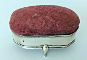 Vintage Antique Sterling Silver Royal Red Pin Cushion Sewing
