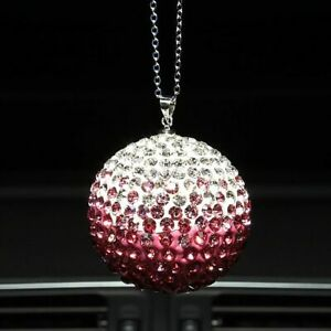 Car Artificial Crystal Charm Bling Ball Hanger Mirror Rhinstone Interior Decor