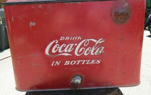 1950s Authentic COKE COCA COLA Ice Chest Picnic Cooler W Plug & Opener Great Br