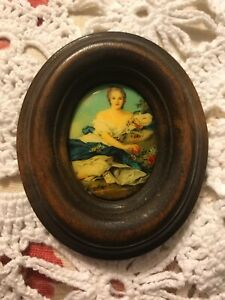 Antique Victorian Wood Picture Frame With Celluloid Scene Woman Laying Flowers