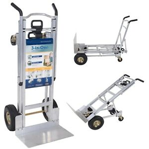 Cosco 3 In 1 Aluminum Hand Truck Dolly 2 Or 4 Wheel 1000lbs Limit Heavy Duty