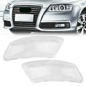 Pair Left Right Headlight Lens Lampshade Pc Shell Cover For Audi A6 C6 2006 2011