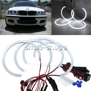 4x Smd Led Angel Eyes Halo Rings For Bmw E46 3 Series Non hid Halogen Headlights