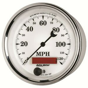 295 Autometer Old Tyme White Ii 3 3 8 Programmable Speedometer Gauge 0 120mph