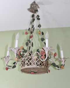 Vintage Country French Tole Flower Basket 6 Light Chandelier Shabby Chateau