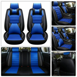 Black blue Car Seat Cover 5 seats Pu Leather Protectors For Universal Suv Sedan