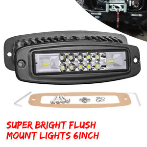 2x 6 Inch Flush Mount Led Pods Work Light Bar Spot Flood Driving Offroad Suv 7