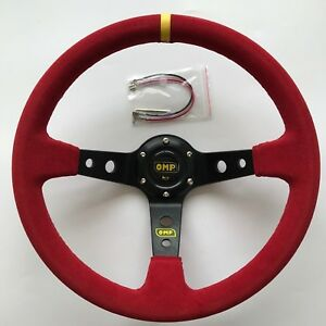 350mm Omp Red Suede Leather Deep Dish Steering Wheel For Momo Hub Drifting Yl