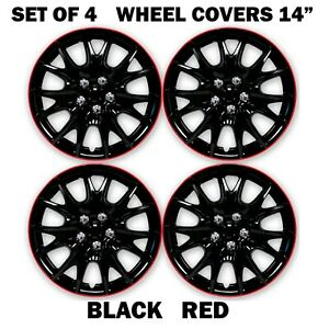 Wheels Cover 14 Inch Black Red Premium Quality Hubcaps Set Of 4