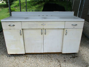 Vintage Youngstown By Mullins Enamel Double Farmhouse Kitchen Sink
