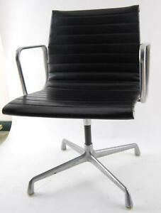 Vintage Herman Miller Eames Black Vinyl Office Desk Aluminum Group Chair b