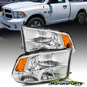 Fit 2009 2018 Dodge Ram 1500 2500 3500 Chrome Quad Headlights Headlamps Pair