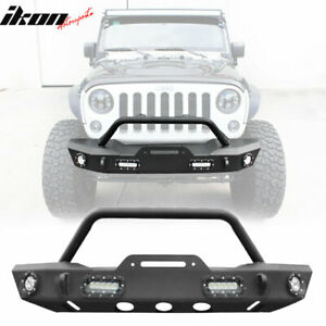 Fits 19 20 Jeep Wrangler Jl Texture Iron Steel Front Bumper Guard W Led Lights