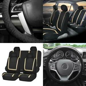 Cloth Auto Car Seat Covers Set Beige W black Silicone Steering Wheel Cover