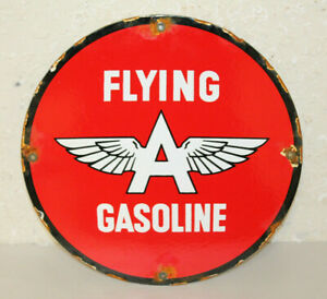 Flying A Gasoline Vintage Style Porcelain Signs Gas Pump Plate Man Cave Station