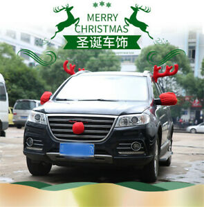 5pcs Reindeer Antlers Car Suv Christmas Decoration Accessories Decor Gift Kit