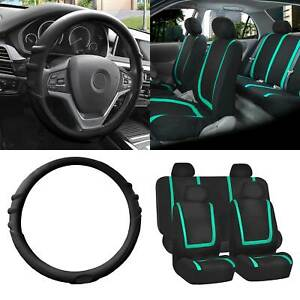 Cloth Seat Covers Full Set Mint W black Silicone Steering Wheel Cover