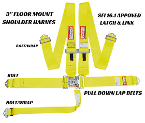 Yellow Safety Harness 5 Point Sfi 16 1 Racing Latch Link 3 Floor Mount Bolt