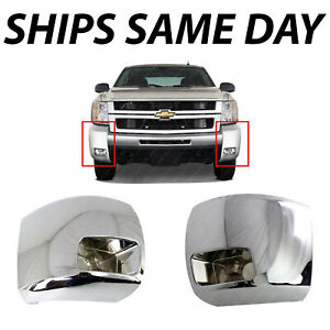 New Chrome Front Side Bumper Ends For 2007 2010 Chevy Silverado 2500 3500 W Fog