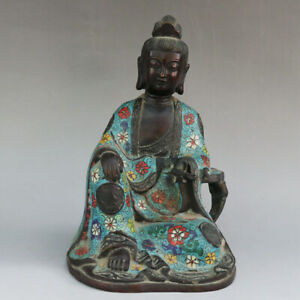 Chinese Exquisite Handmade Guanyin Copper Cloisonne Statue