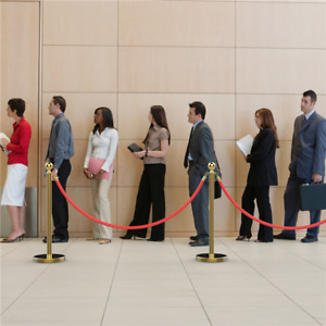 2pcs Crowd Control Barrier Stanchion Pole Queue Line Barrier Retractable Belt