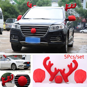 5pcs Red Car Christmas Decor Reindeer Antlers Nose Rearview Mirror Covers Kit