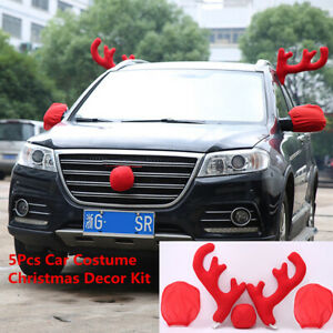 2019 New Red 2pcs Antlers Nose 2pcs Mirror Cover Car Styling Christmas Decor Kit