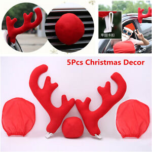 5pcs Lovely Antlers Red Nose Mirror Cover Car Exterior Costume Christmas Decor