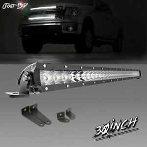 30inch Slim Led Light Bar Spot Flood Truck Single Row For Bumper Ford F250 F350
