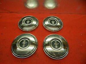 4 Takeoff Used 68 Ford Mustang Black Crest Center 10 1 2 Hub Caps C8zz 1130 F