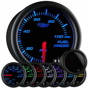 Glowshift Tinted 7 Color Series 100 Psi Fuel Pressure Gauge Gs T711 Glow Shift
