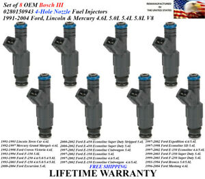 4hole Set Of 8 Oem Bosch Iii Fuel Injectors For 1990 2004 Ford E Vans 0280150943