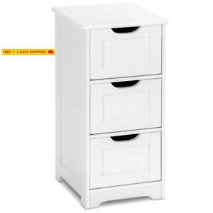 Tangkula Floor Cabinet 3 Drawers Wooden Storage Cabinet For Home Office Living