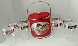 1993 Coca-Cola Ice Bucket With 8 Tall Plastic Tumblers With Santa