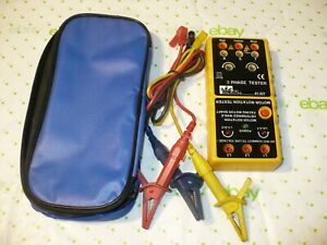 Ideal 61 521 3 Phase Tester Motor Rotation Tester W Leads Case